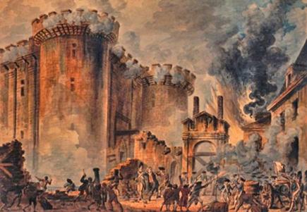 La Prise de la Bastille (The Storming of the Bastille). Painting by Jean-Pierre-Louis-Laurent Houel, 1789.