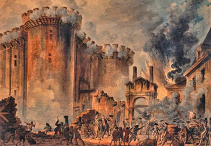La Prise de la Bastille (The Storming of the Bastille). Painting by Jean-Pierre-Louis-Laurent Houel, 1789.