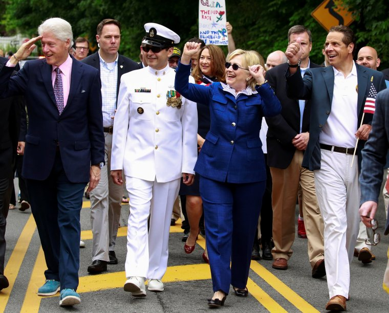 Democratic U.S. presidential candidate Hillary Clinton takes part in the Memorial Day parade in Chappaqua